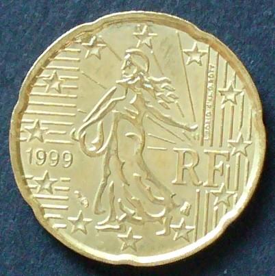 20 Cent 1999 Frankreich S655 Al Bro Säerin Vor Aufgehender