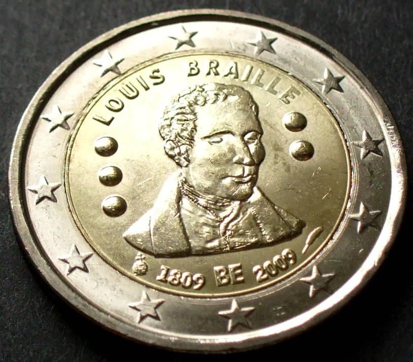 2 Euro 2009 Belgien S266 Bime 200 Geburtstag Von Louis Braille