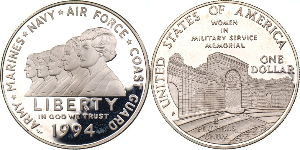 1 Dollar 1994 Usa Women In Military Service Memorial Fb Ma Shops
