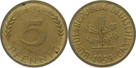 5 Pfennig 1950 J Bundesrepublik Deutschland Leicht Belaufene Fb Winz