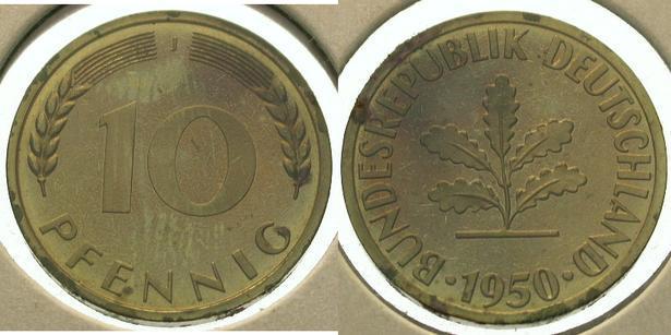 10 Pfennig 1950 J Bundesrepublik Deutschland Fb Stempelglanz Ma Shops