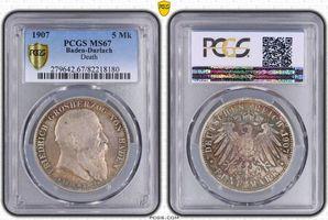 PCGS certified 5 Mark 1907 Baden Friedrich I. 1856-1907. PCGS MS 67
