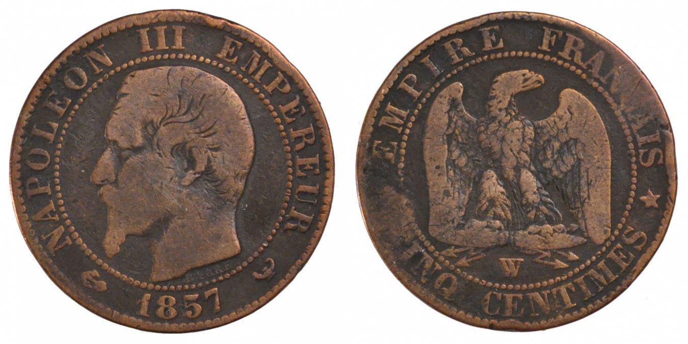 5 Centimes 1857 W France Monnaie Napoleon Iii Napoléon Iii Lille
