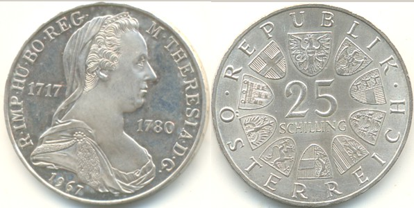 25 Schilling 1967 österreich Maria Theresia Supfdc Ma Shops