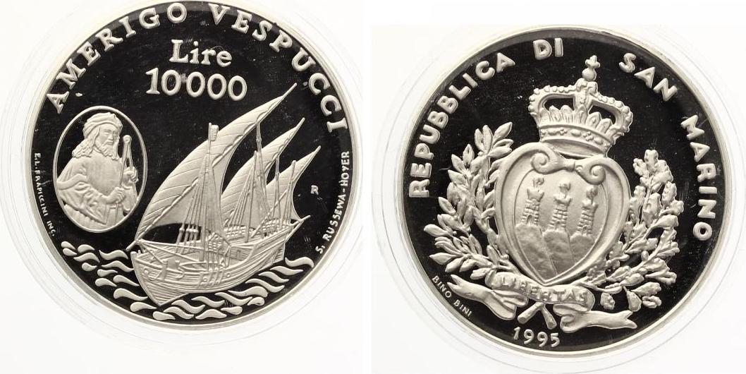 1995 san marino 10000 lire 1995 proof silver amerigo vespucci pp ma shops. Black Bedroom Furniture Sets. Home Design Ideas