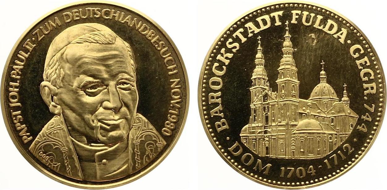 1980 medaille gold barockstadt fulda besuch johannnes paul ii ca 10g pp feine kratzer ma shops. Black Bedroom Furniture Sets. Home Design Ideas