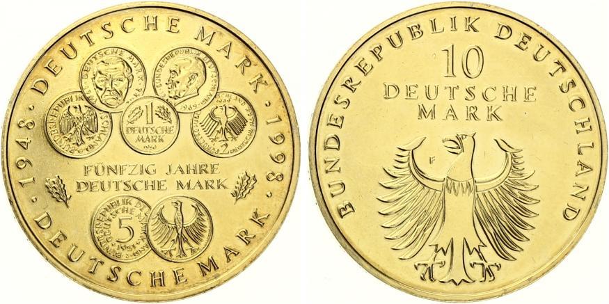 1998 10 Dm 50 Jahre Deutsche Mark Spl Vergoldet Ma Shops