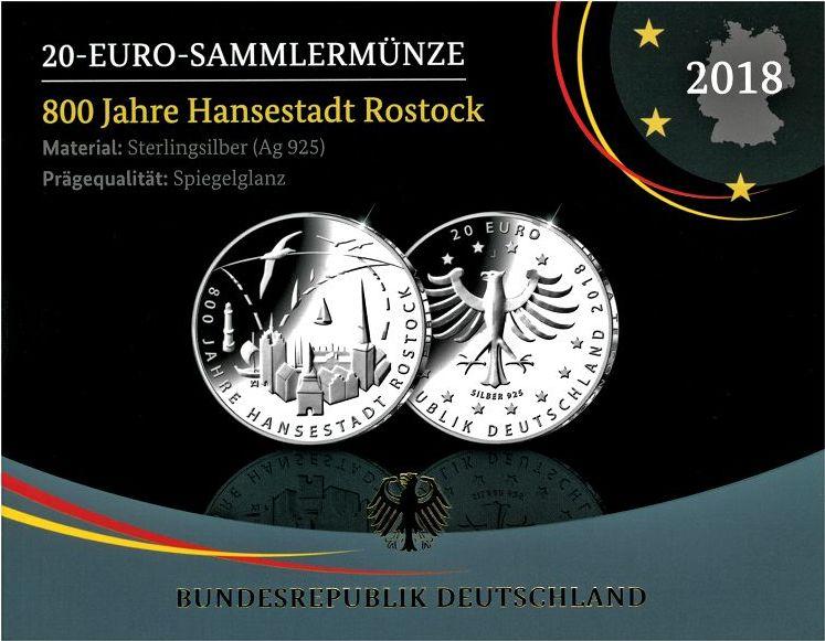 20 Euro 2018 Brd 20 Euro Gedenkmünze 800 Jahre Rostock Fb Ma Shops