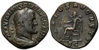 AE Sesterz 235-236, Röm. Reich, Maximinus I. Thrax, 235-238, braune Patina, ss