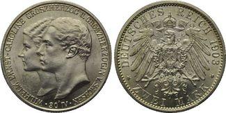 2 Mark 1903, Sachsen-Weimar-Eisenach, zur Hochzeit mit Caroline von Reuß, st