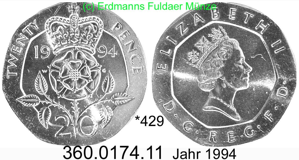 20 Pence 1994 Great Britain Großbritannien 429 Km939 Essigrose