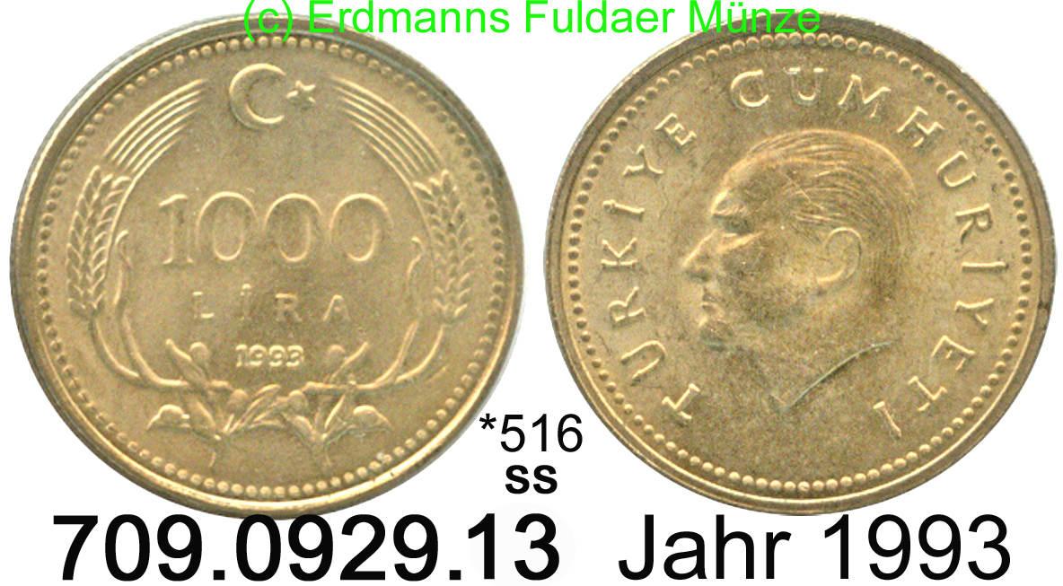 1000 Lira 1993 Turkey Türkei 516 Km997 Atatürkwert Ttb Ma Shops