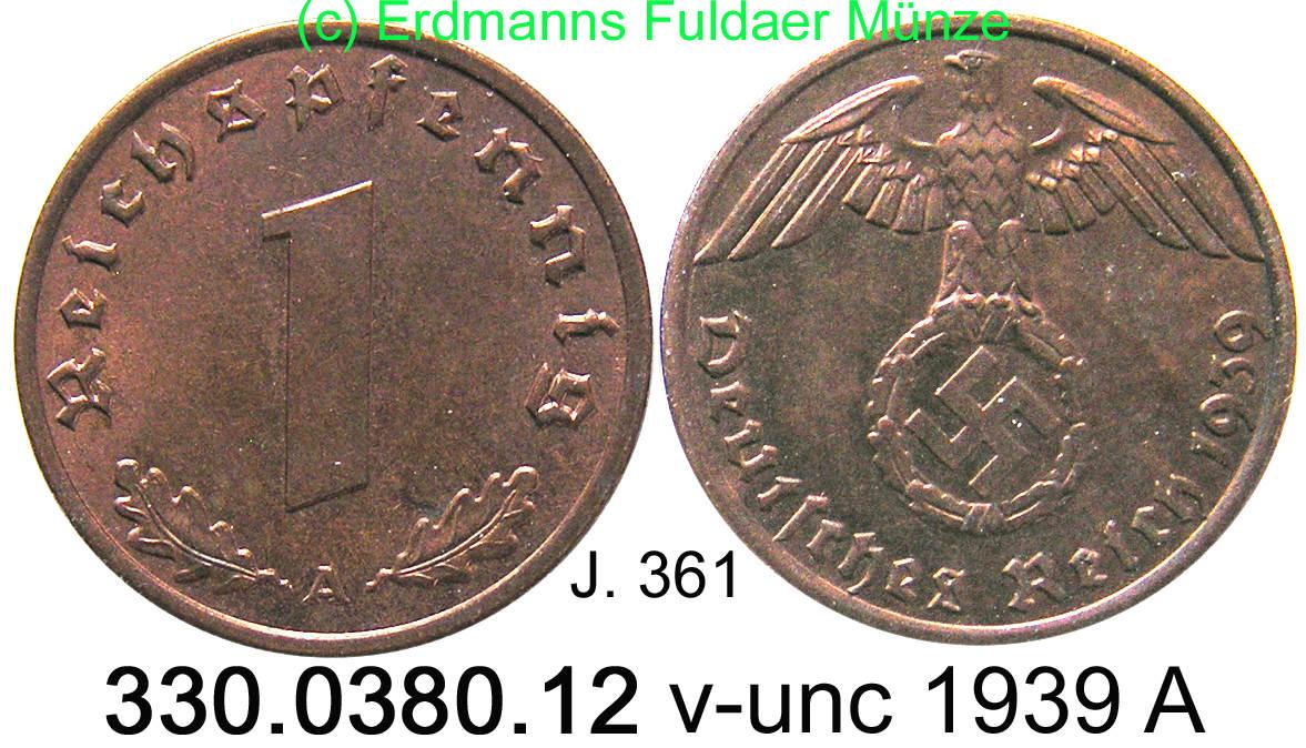 1 Reichspfennig 1939 A Deutsches Reich J361 1 Reichspfennig