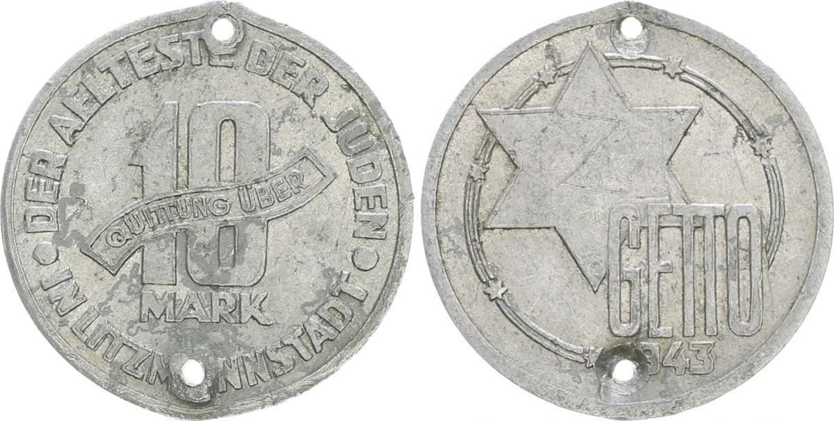 10 Mark 1943 Deutschland Polen Getto Litzmannstadt Getto