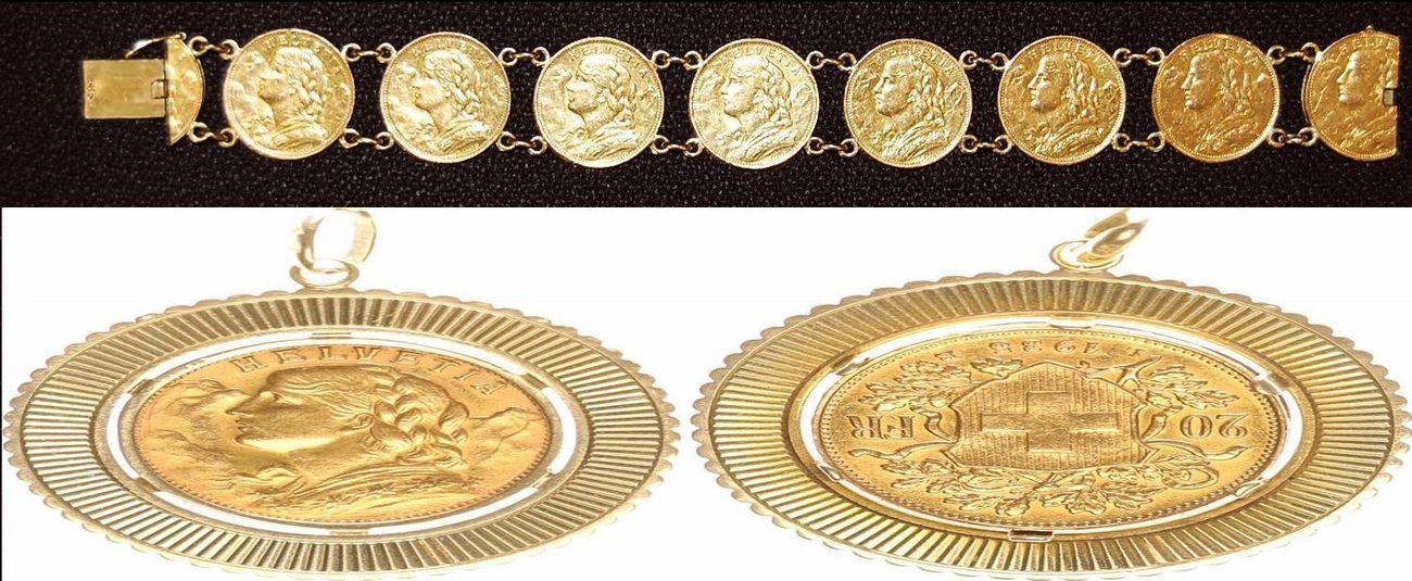 Armband Mit Goldmünzen Und Anhänger Schweiz Armband Mit Goldmünzen