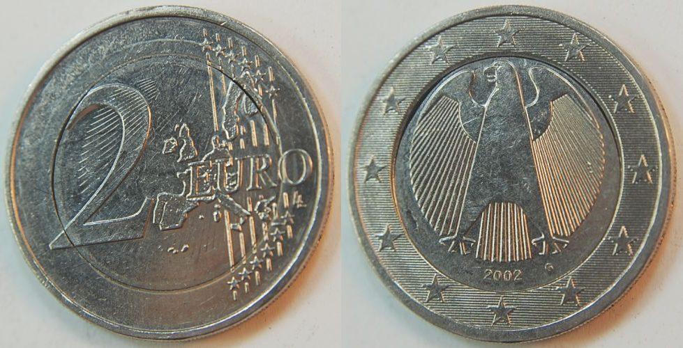 2 Euro Fehlprägung Mit 1 Pille überprägt 2002 G Deutschland