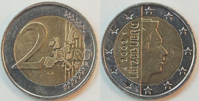 2 Euro Luxemburg Rändelung Holland 2002 Luxemburg Niederlande
