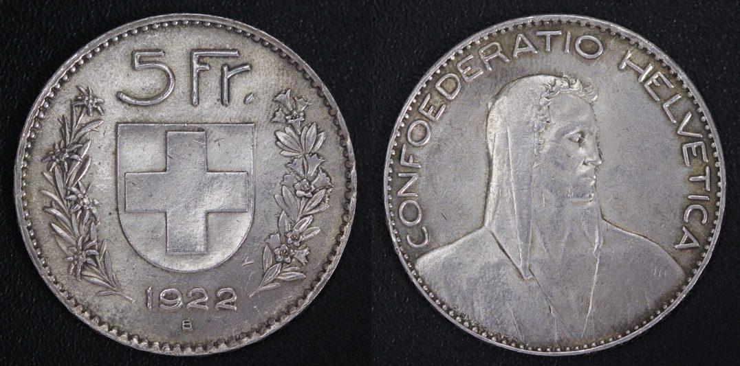 5 Franken 1922 Schweiz Confoederatio Helvetica Ss Ma Shops