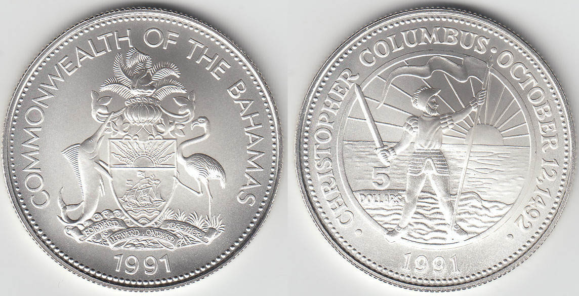 5 dollars 1991 bahamas bahamas silver coin discovery of the new world columbus like scan. Black Bedroom Furniture Sets. Home Design Ideas