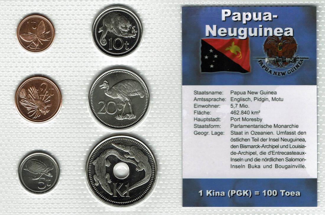 138 Kina 5 Münzen 2004 2006 Papua Neuguinea Papua New Guinea