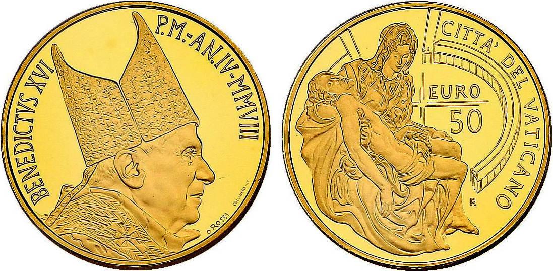 50 Euro 2008 Vatikan Papst Benedikt Xvi 2005 2013 Quotpieta