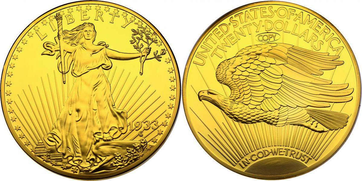 20 Dollar Copy 1933 Usa Double Eaglest Gaudens Gigant Münze Fb