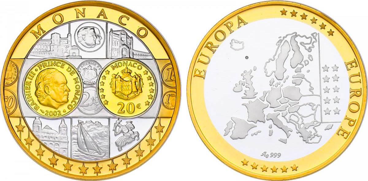 Ag Medaille Oj Erstabschlag Monaco 20 Euro 2002 Fb Vergoldet