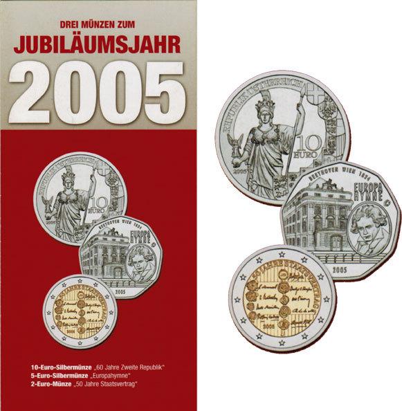 10 Euro 5 Euro 2 Euro 2005 österreich Drei Münzen Zum