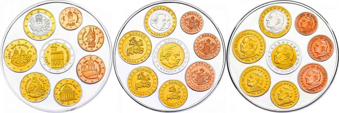 3x Ag Medaillen 2002 Vatikan San Marino Monaco Serie Die Ersten