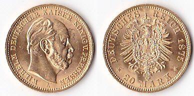 20 Mark Gold 1875 A Deutschland Kaiserreichwilhelm I König V
