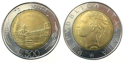 500 Lire 1984 Italien Bi Met Spl Ma Shops