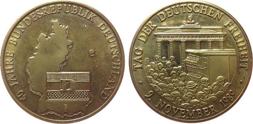 Medaille 1989 Deutschland Messing 40 Jahre Bundesrepublik
