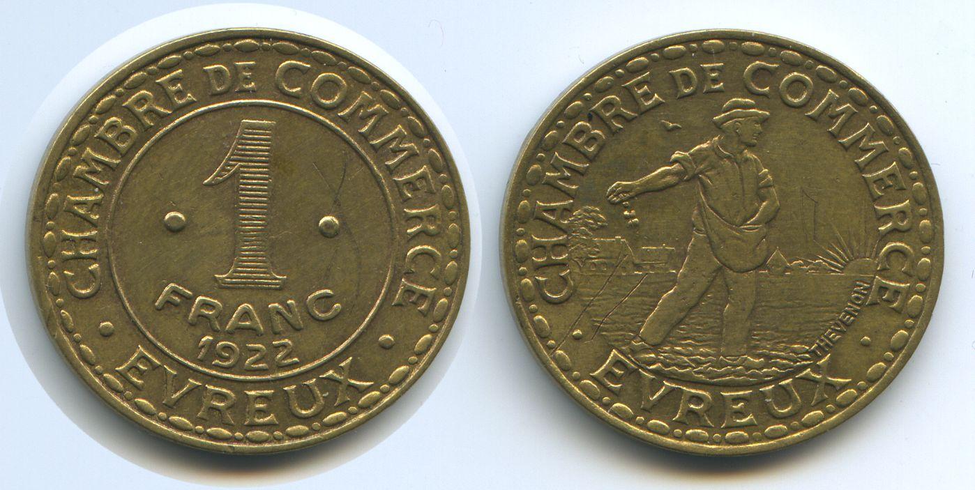 1 franc 1922 frankreich evreux m 3068 chambre de commerce for Chambre de commerce evreux
