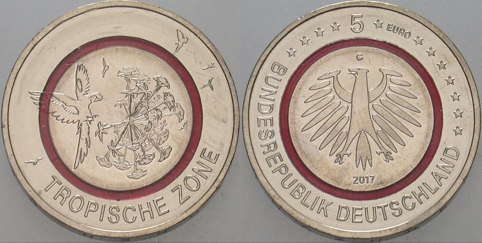 5 Euro 2017 G Deutschland Tropische Zone Fdc Aus Der Rolle Ma Shops