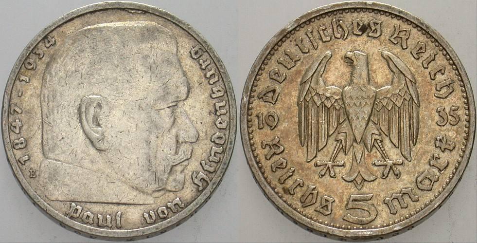 5 Reichsmark 1935 E Kleinmünzen Paul Von Hindenburg Ttb Ma Shops