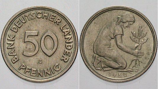 50 Pfennig 1950 G Leichte Patina Fdc Ma Shops