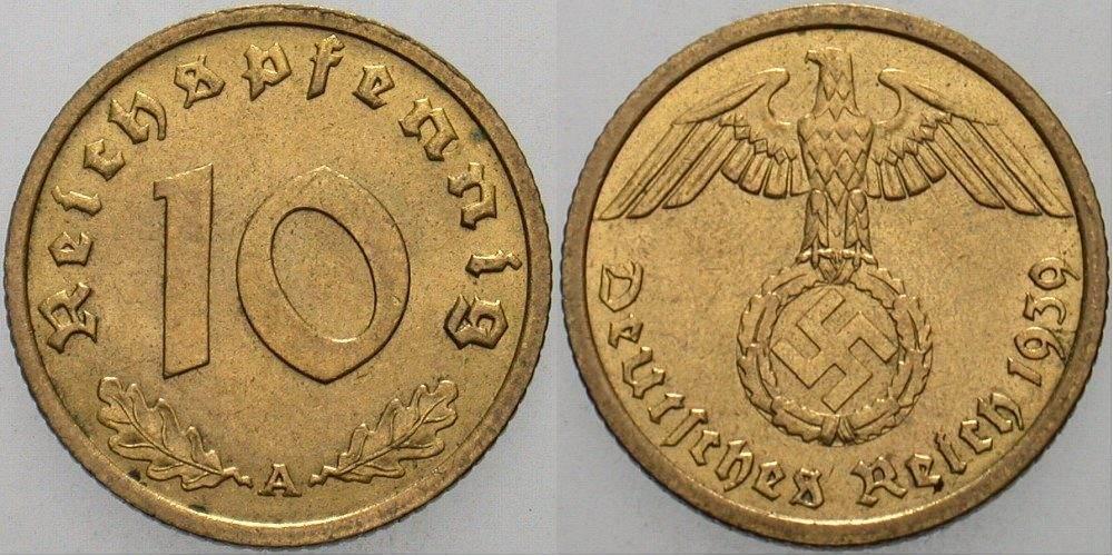 10 Reichspfennig 1939 A Fdc Ma Shops