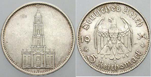5 Reichsmark 1934 F Sup Ma Shops