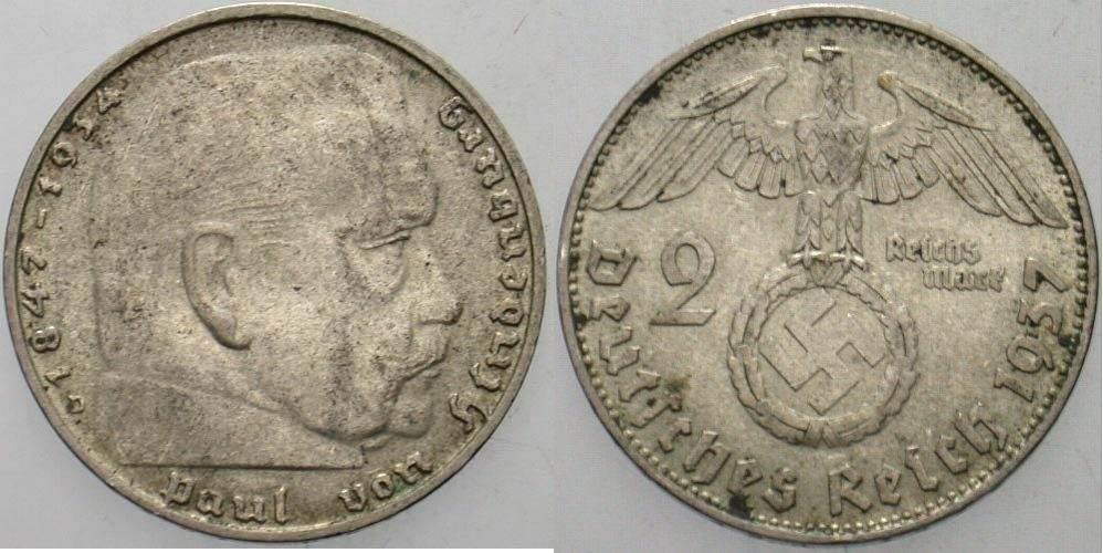 2 Reichsmark 1937 D Ttb Ma Shops