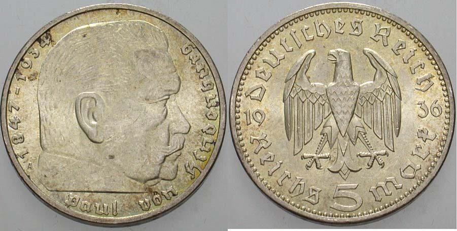 5 Reichsmark 1936 A Kleinmünzen Paul Von Hindenburg Patina Sup