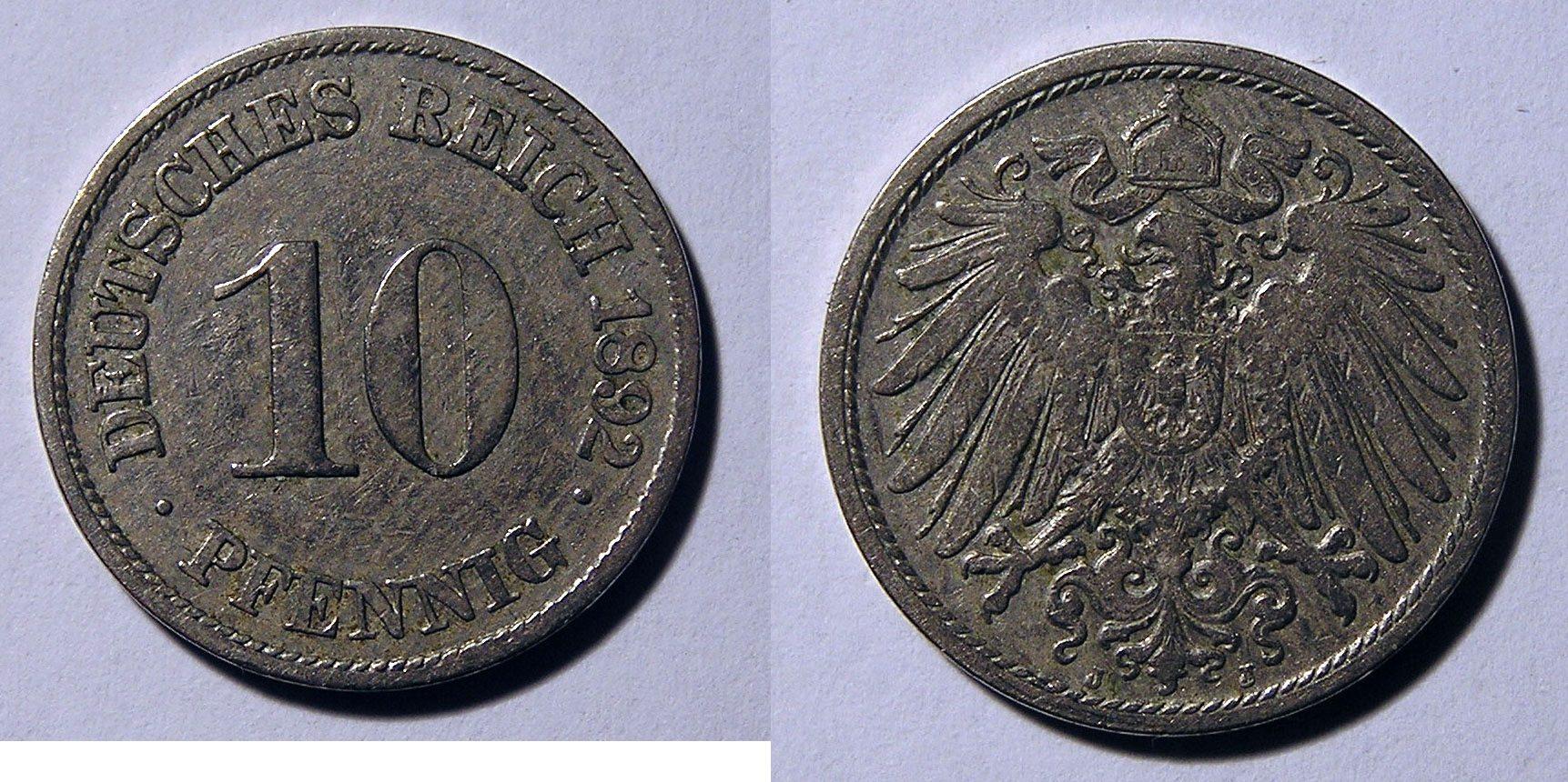 10 Pfennig 1892 J Deutsches Reich Jäger 13 I 10 Pf 1892 J I