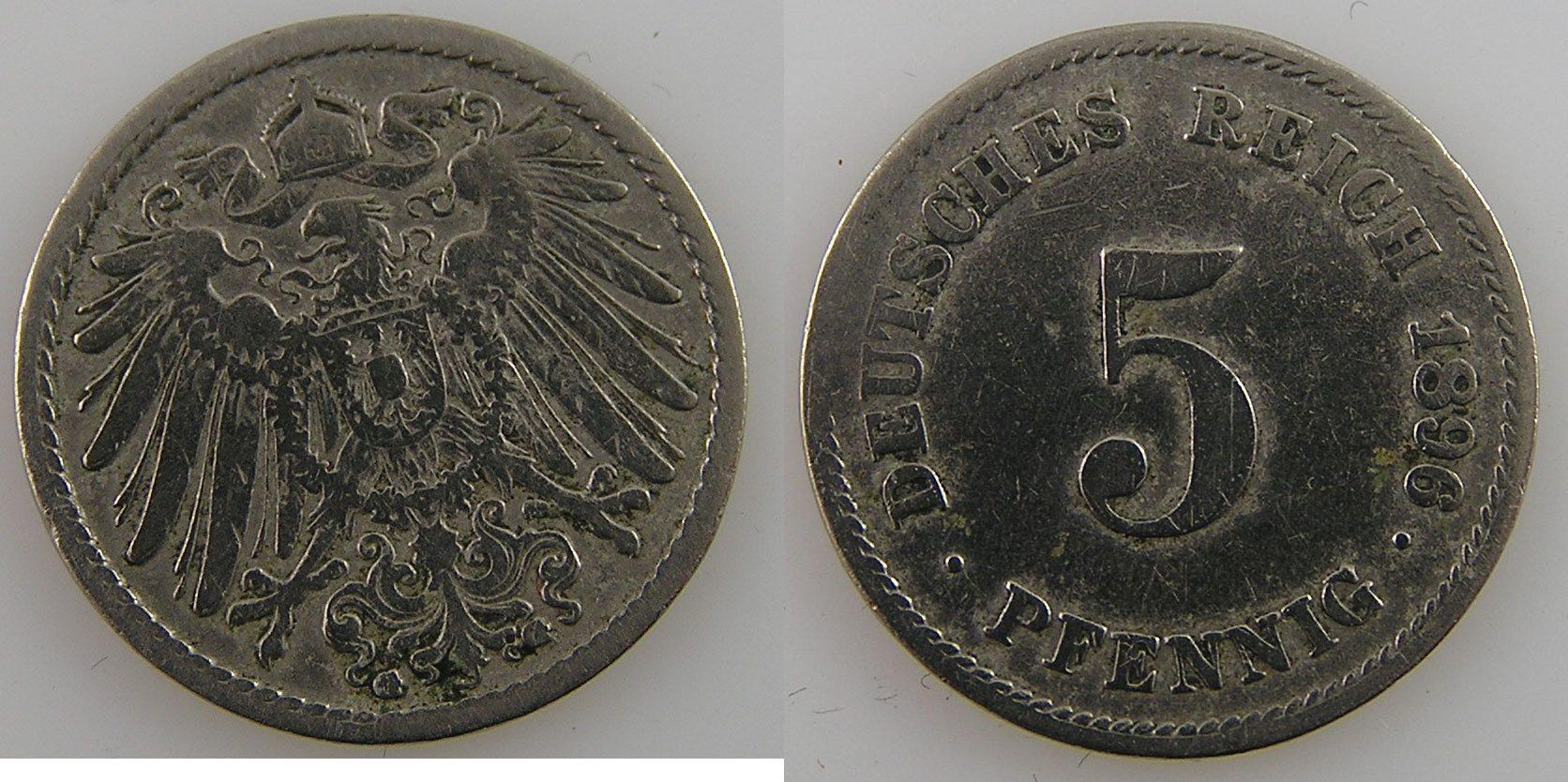 5 Pfennig 1896 G Deutsche Reich J12 5 Pf 1896 G One Of The Least