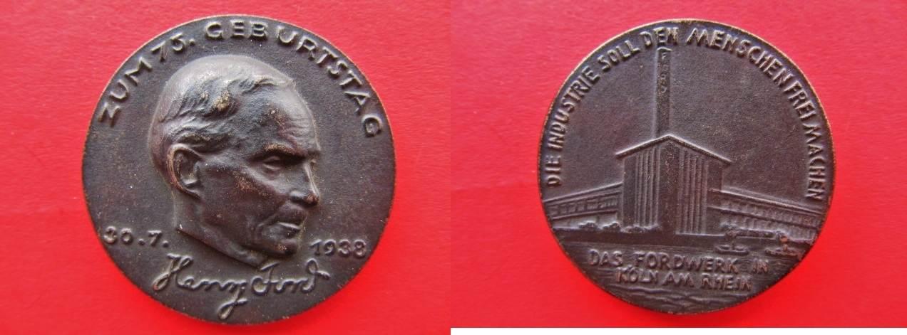 Medaille 1938 Köln Eisen Henry Ford 75 Geburtstag Fordwerk In