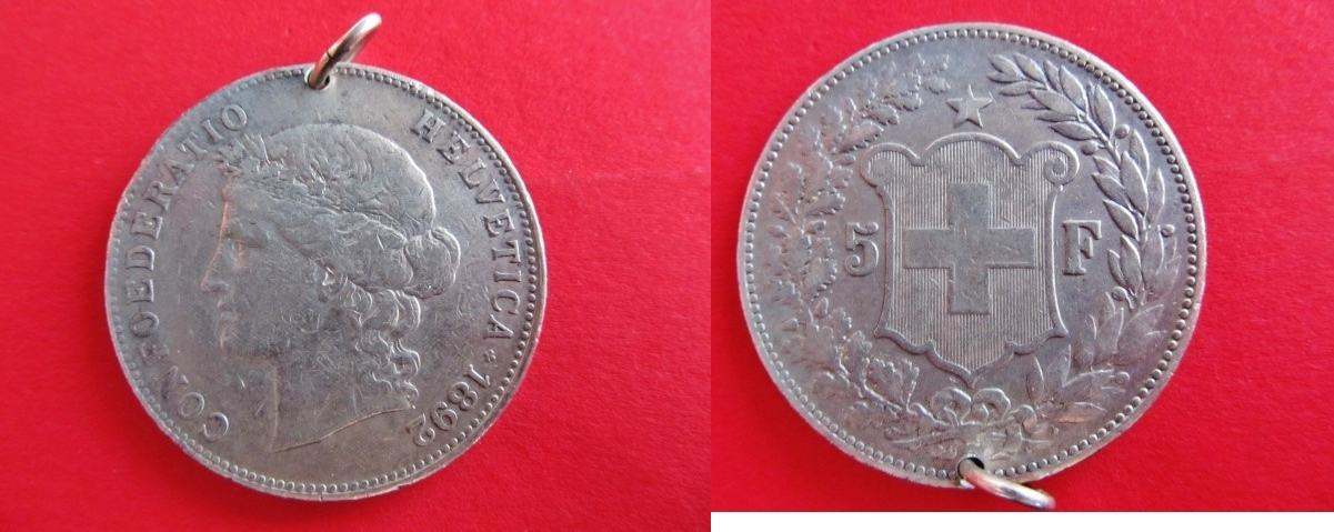 5 Franken 1892 Schweiz Confoederatio Helvetica Silber Rdf