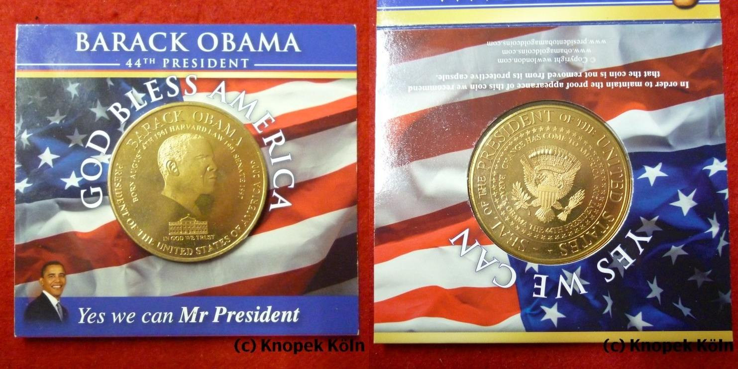 Medaille 2009 Usa God Bless America Commemorative Coin Obama Fb