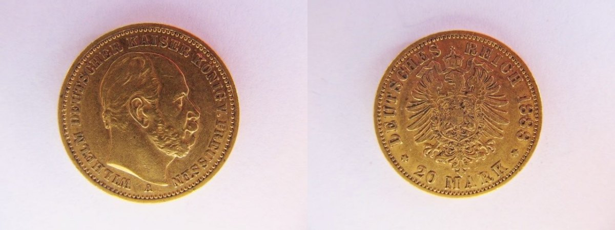 20 Mark 1888 A Deutsches Reich Kaiserreich Gold 20 Goldmark