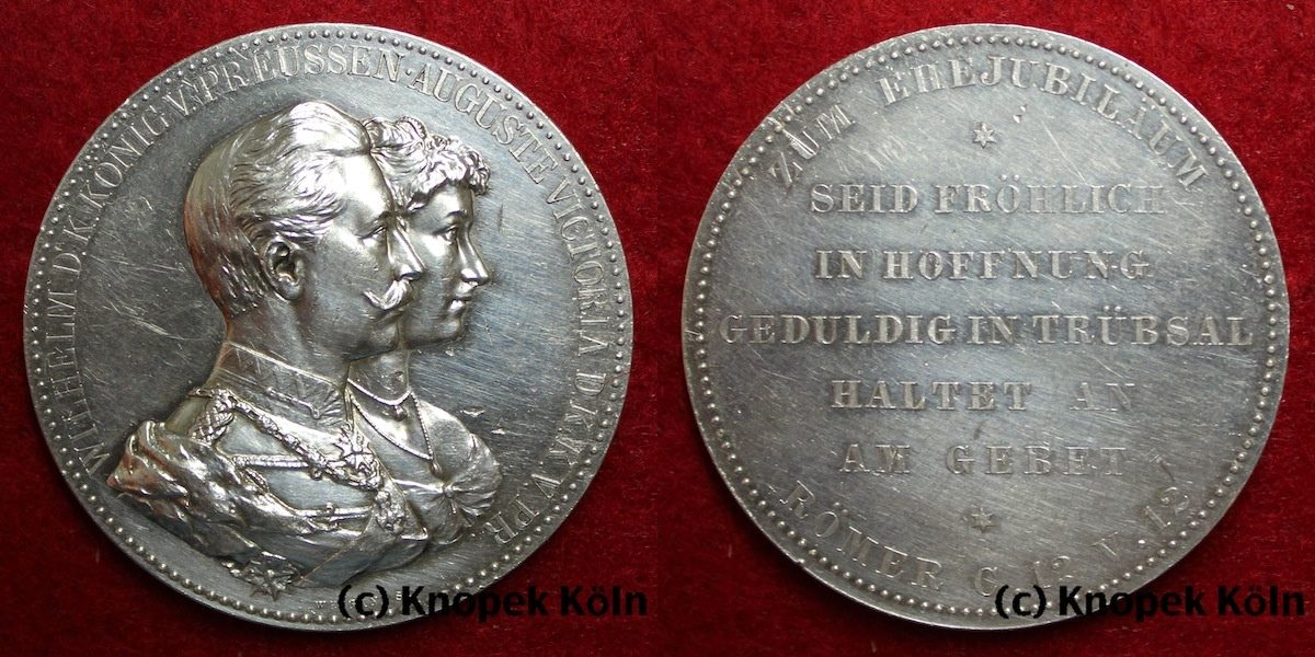 Silbermedaille Preussen Silber Medaille Wilhelm Ii Und Auguste