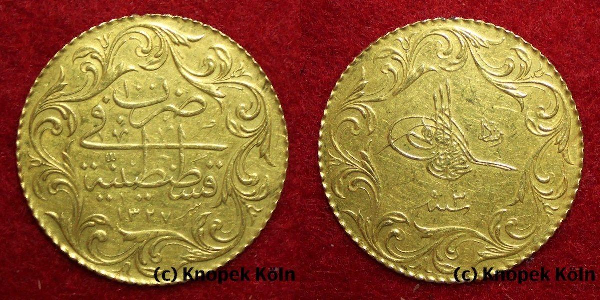 100 Kurush Gold Ah 1327 Jahr 3 Türkeiosmanen Herrscher Muhammed V
