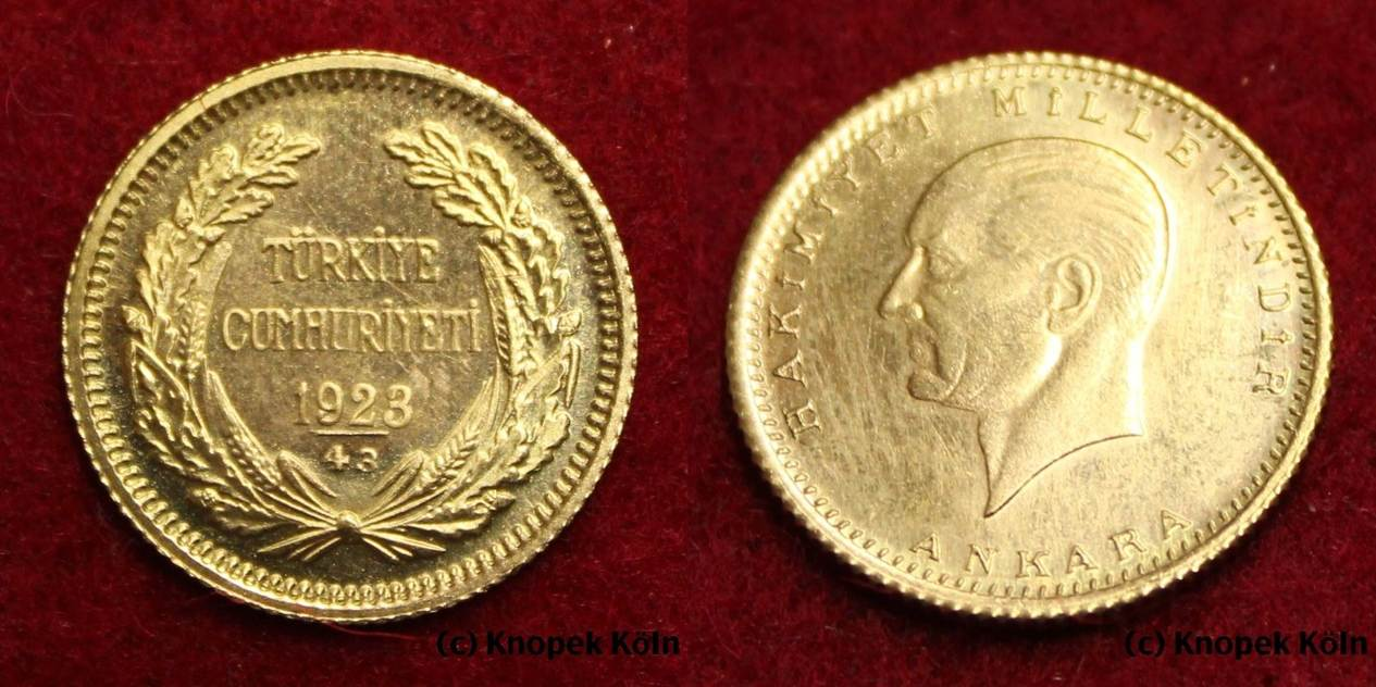 50 Kurush 192343 Türkei Ataturk Goldmünze Turkish Gold Coin Turkey