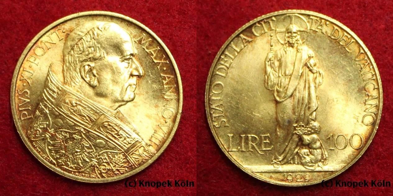 100 Lire Gold 1929 Vatikan Pius Xi 1922 1939 Vatican Gold Coin